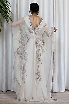 White Embroidered Kaftan Dress With Pants by Soltee By Sulakshana Monga