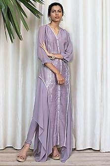 Lavender Georgette Sleeved Dress With Pants by Soltee By Sulakshana Monga
