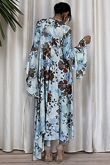 Sky Blue Printed Bell Sleeved Dress With Pants by Soltee By Sulakshana Monga