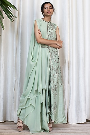 Aqua Green Embroidered Dress With Pants by Soltee By Sulakshana Monga