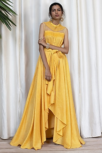 Ochre Yellow Tie-Knot Dress With Pants by Soltee By Sulakshana Monga