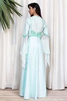 Powder Blue & Green Embroidered Dress With Pants by Soltee By Sulakshana Monga