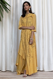 Medallion Yellow Embroidered Dress With Pants by Soltee By Sulakshana Monga