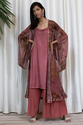 Burgundy Printed Cape With Kurta & Pants by Soltee By Sulakshana Monga