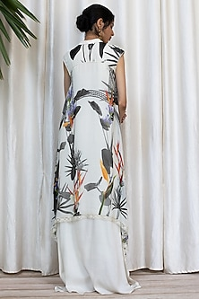 White Printed Asymmetric Dress With Pants by Soltee By Sulakshana Monga