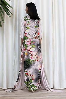 White Printed Front Slit Dress With Pants by Soltee By Sulakshana Monga