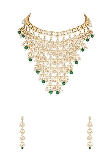Gold Plated Maharani Necklace Set by Soranam