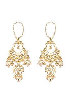 Gold Plated Kundan Earrings by Soranam