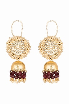 Gold Plated Kundan & Stone Jhumka Earrings by Soranam