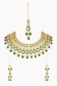 Gold Plated Pearl Necklace Set With Maang Tikka by Soranam-Shop By Style