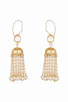 Gold Plated Faux Pearl Jhumka Earrings by Soranam