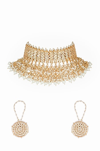 Gold Plated Maharani Choker Necklace Set by Soranam