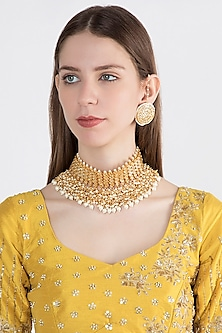Gold Plated Maharani Choker Necklace Set by Soranam