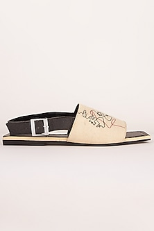 Off White Embroidered Backstrap Sandals by Sole Stories