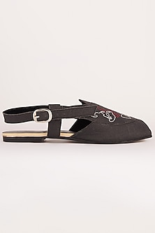 Charcoal Black Embroidered Sandals by Sole Stories