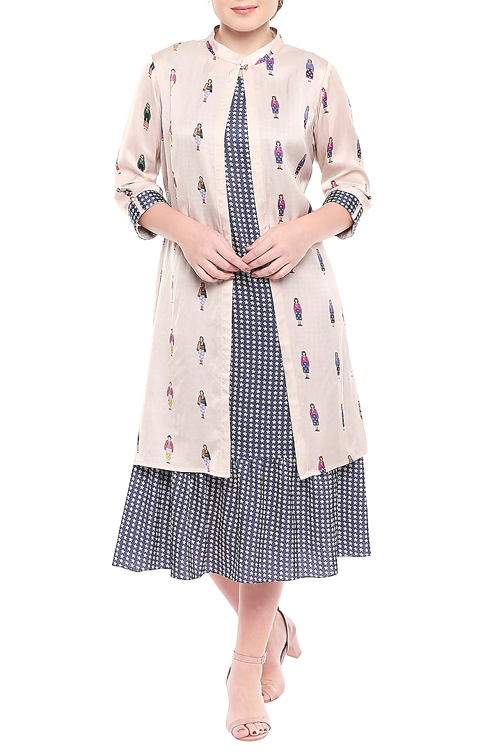 Blue Printed Dress With Ivory Jacket by SO US By Sougat Paul