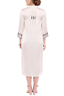 Ivory Printed Pintuck Dress by SOUS