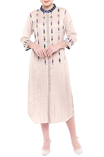 Ivory Printed Midi Dress by SOUS