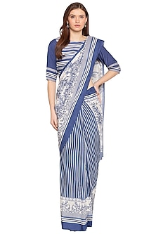 Blue Printed Pre-Stitched Saree Set by SOUS