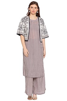 Blue & White Printed Kurta With Palazzo Pants & Jacket by SOUS
