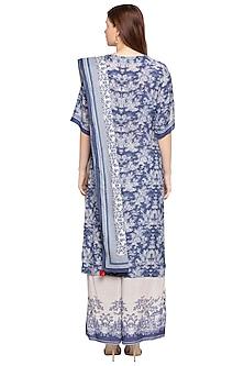 Blue & White Printed Kurta Set by SOUS