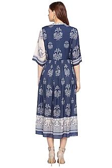Blue & White Gathered Wrap Dress by SOUS