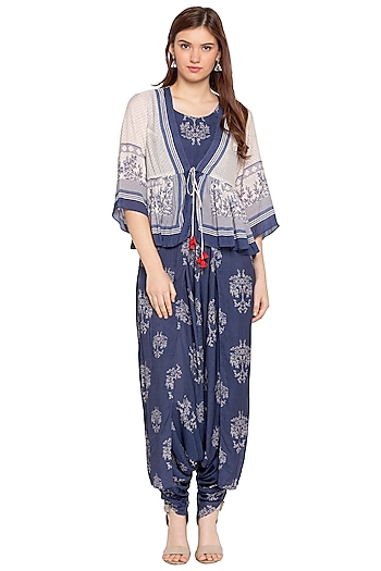 Blue Printed Dhoti Jumpsuit With White Peplum Jacket by SOUS