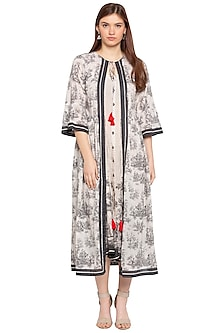 White & Black Printed Jacket With Tunic by SOUS