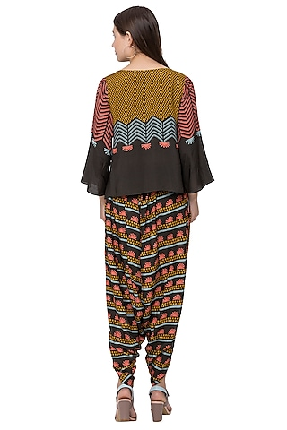 Black Printed Crop Top And Dhoti by SO US By Sougat Paul