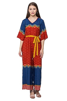 Red & Blue Printed Jumpsuit With Belt by SOUS
