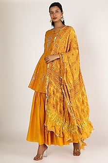 Yellow Embroidered Sharara Set by Sozenkari