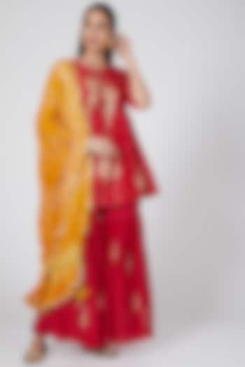 Red & Yellow Embroidered Sharara Set by SOZENKARI