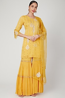 Yellow Embroidered Sharara Set by SOZENKARI