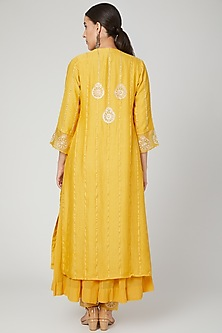 Yellow Embroidered Anarkali Set by SOZENKARI