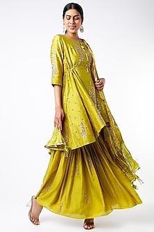Mustard Embellished Short Asymmetrical Anarkali Set by SOZENKARI-POPULAR PRODUCTS AT STORE