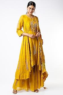 Mustard Yellow Embellished Asymmetrical Anarkali Set by SOZENKARI-POPULAR PRODUCTS AT STORE