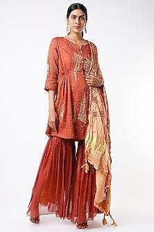 Maroon Embellished Asymmetrical Anarkali Set by SOZENKARI-POPULAR PRODUCTS AT STORE