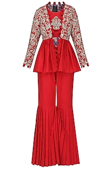Red Embroidered Peplum Jacket with Crop Top and Pleated Gharara Pants by Sonali Gupta