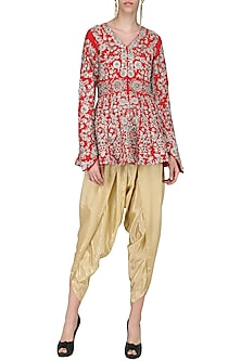 Red Embroidered Peplum Jacket with Gold Dhoti Pants by Sonali Gupta