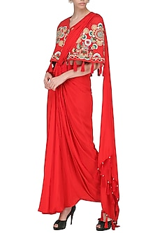Red Pre-Stitched Saree with Embroidered Cape by Sonali Gupta