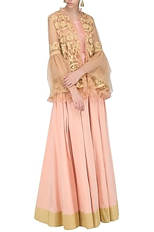 Peach Embroidered Peplum Jacket with Crop Top and Lehenga Skirt by Sonali Gupta