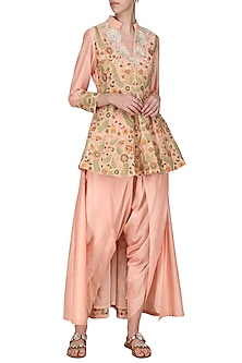 Peach Embroidered Peplum Trail Jacket with Dhoti Pants by Sonali Gupta