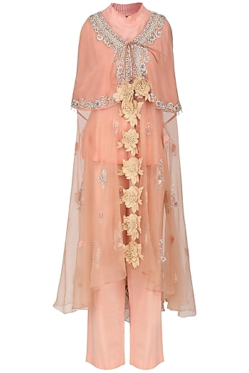 Pink Embroidered Kaftan Top with Inner and Straight Pants by Sonali Gupta