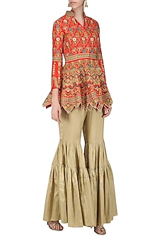 Red Embroidered Peplum Jacket with Gold Gharara Pants by Sonali Gupta
