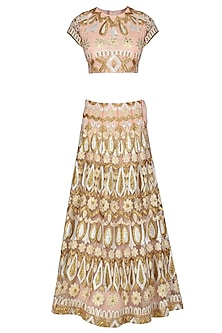 Pink and Beige Gota Patti Embroidered Lehenga Set by Sonali Gupta