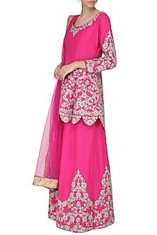 Hot Pink Embroidered Kurta with Sharara Pants Set by Sonali Gupta