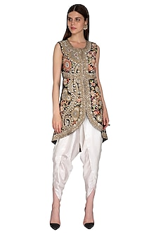 Black Embroidered Jacket With Dhoti Pants by Sonali Gupta