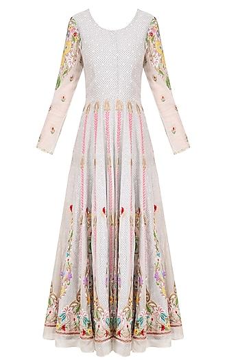 Off White Thread Embroidered Anarkali Set by Sonali Gupta