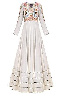 Off White Floral Embroidered Kalidaar Anarkali Set by Sonali Gupta