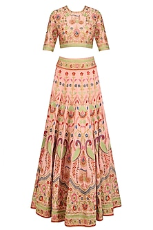 Pink Floral Jaal Embroidered Lehenga Set by Sonali Gupta